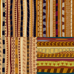 Set of  color patterns primitive tribal pattern