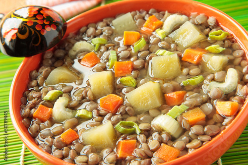 Lentil soup and pickled cucumbers