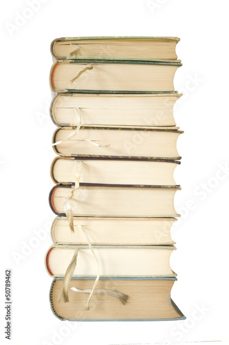 stack of books with bookmarks, isolated on white background