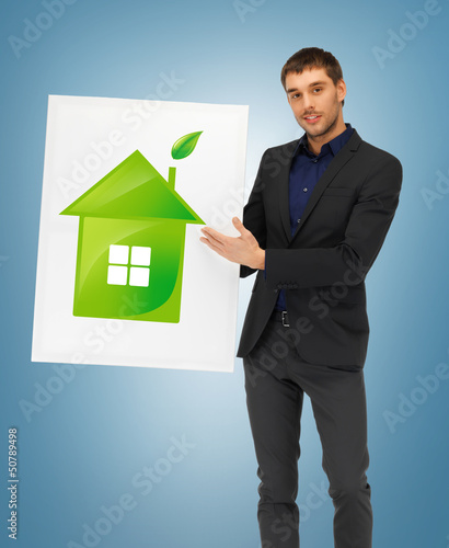 handsome man illustration of eco house