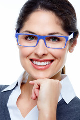 Business woman with eyeglasses.