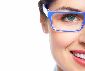 Woman eye  with eyeglasses.
