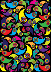 abstract vector background with paisley ornaments