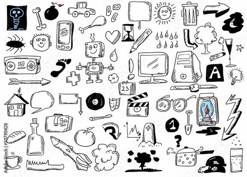 Doodle design elements, hand drawn illustration