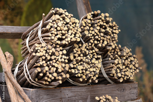 Licorice roots to the market in Italy