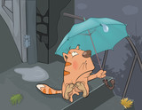 Cat and an autumn rain. Cartoon