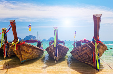 Traditional longtail boats in Railay beach, Thailand