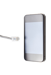Smart phone with data cable plug over white background