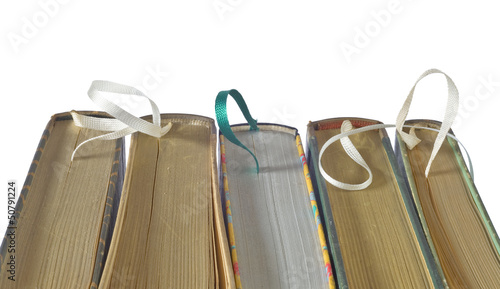 books with bookmarks,close uo, selective focus