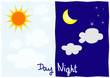 Day and night illustration background
