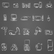 Home appliances drawing icon set