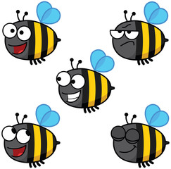 Set of cartoon bees colored