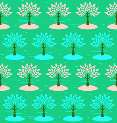 Blossoming trees. Seamless pattern. Vector background.