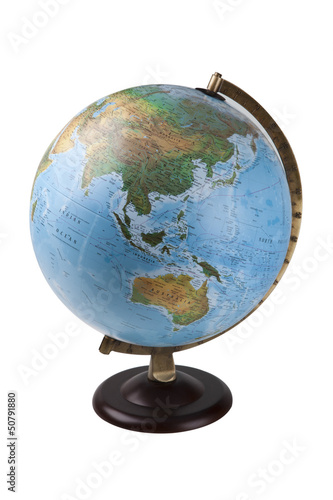 Close-up of globe over white background