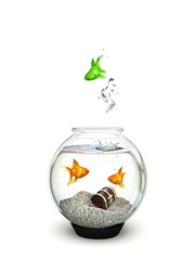 Different, green fish jumping from an ordianry goldfish bowl