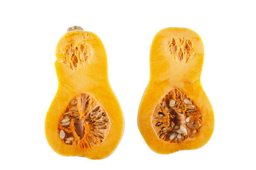Halved butternut squash over white background