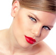 Retro Portrait of Beautiful Woman with red lips, isolated