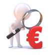 Little man magnifies the Euro symbol