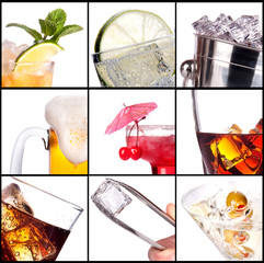 collage with alcohol cocktails