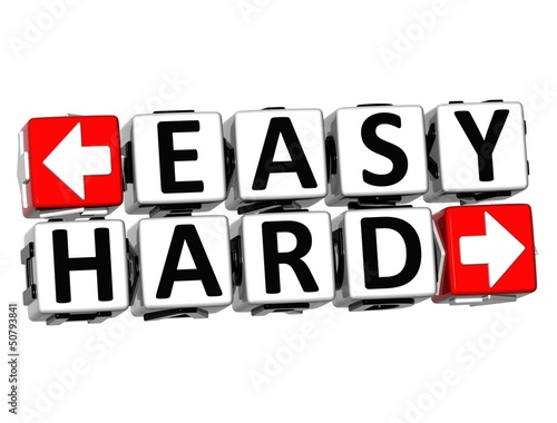 3D Easy Hard Button Click Here Block Text