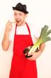 Koch mit Gemüsetopf
