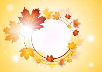 Médaillon de feuilles d'automne avec effets de lumière