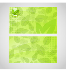 Stylish green vector business card with leafs