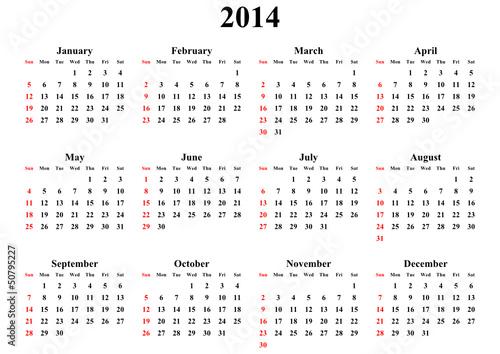 simple editable vector calendar 2014 sunday firts