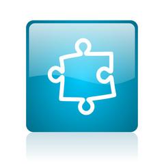 puzzle blue square web glossy icon