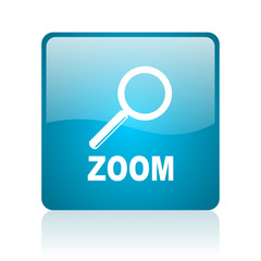 zoom blue square web glossy icon