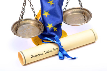 Scales of Justice, European union flag and European union law