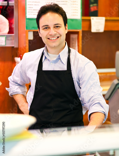 Happy shopkeeper