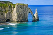 Etretat Aval cliff and rocks landmark. Normandy, France.