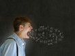 Angry man shouting and swearing at chalk blackboard background