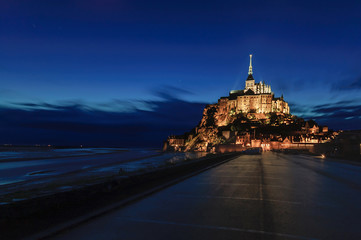 Mont Saint Michel landmark night view. Normandy, France