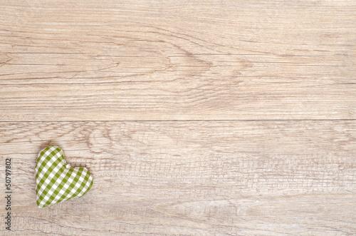 canvas print picture Grün kariertes Herz aus handgemachten Stoff