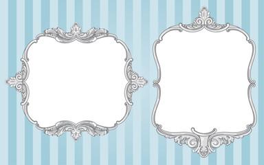 Ornate vintage frames on blue background