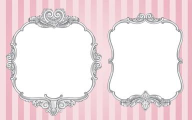 Ornate vintage frames on pink background