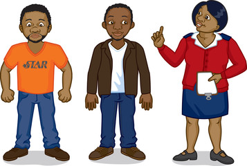 Two young black African men & a clinic nurse: AIDS awareness