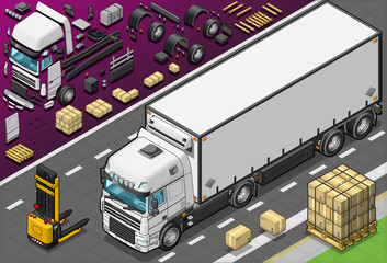 Isometric Frigo Truck in Front View