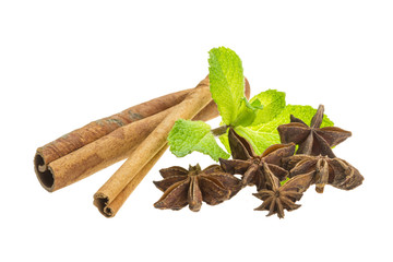 cinnamon, star-anise and mint