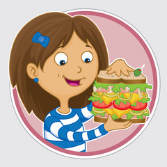 Hungry girl eating a huge sandwich for lunch
