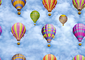 Colorful balloons in the sky. Seamless pattern