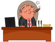 Business Cartoon - Boss Man Smoking Cigar