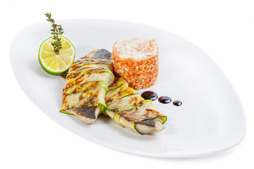 Seabass fillet with rice and lemon