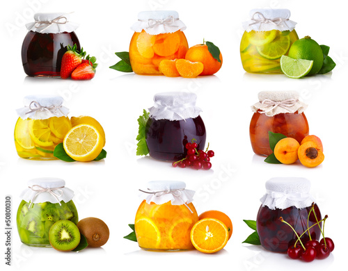 Set of glass jars with exotic fruits jam isolated