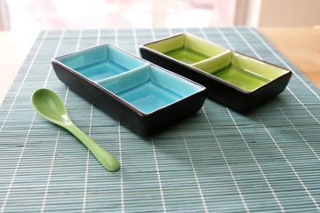 Blue and Green Place Setting