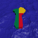 Benin map flag in abstract ocean illustration