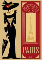 paris, rétro, personnage, mode, tour Eiffel, ville, robe