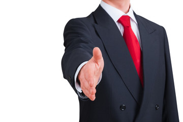 young businessman offering to shake hands. Clipping path